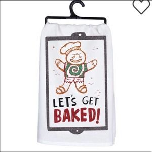 Gingerbread Dish Towel Christmas Lets Get Baked